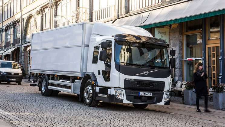 Volvo FE LEC in city streets